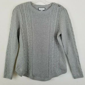 Charter Club Sweater Silver Gray Cotton Blend